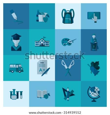 School and Education Icon Set. Flat design style.  - stock photo