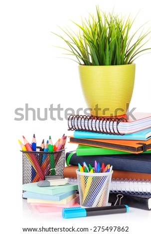 School and office supplies. Isolated on white background - stock photo