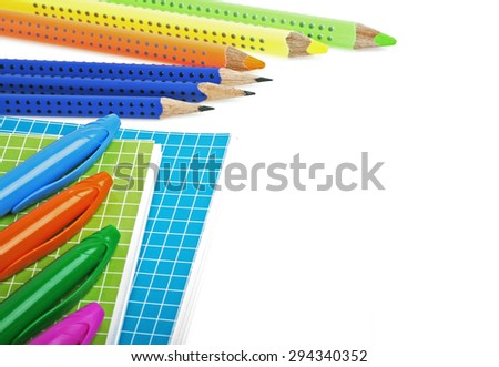 School and office supplies on a white background - stock photo