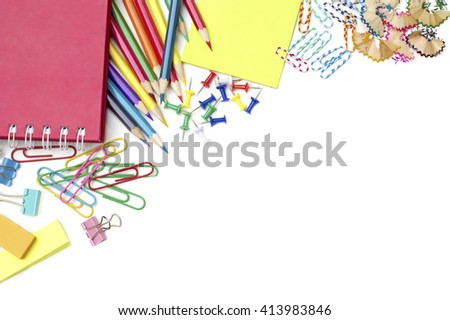 School and office supplies on white background - stock photo
