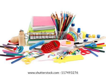 School and office supplies on white background. Back to school. - stock photo