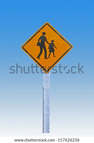 school area sign isolated on a blue background - stock photo