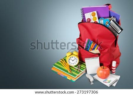 School, back, calculator. - stock photo