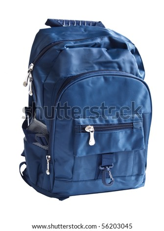 school backpack is isolated on white - stock photo