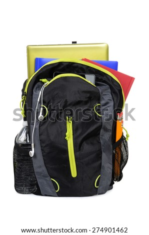 school backpack with books isolated on white background - stock photo