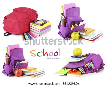 School backpacks, isolated on white - stock photo