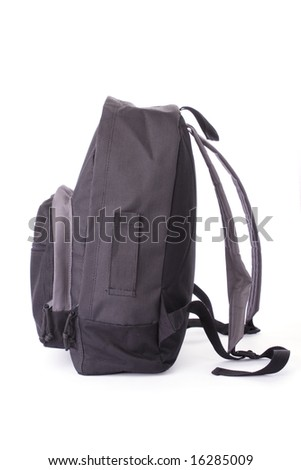 School bag isolated on a white background - stock photo