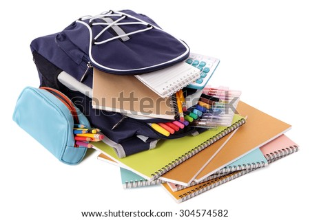 School bag, pencil case, books and supplies isolated on white background - stock photo