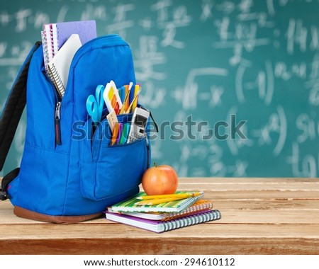 School, bag, rucksack. - stock photo