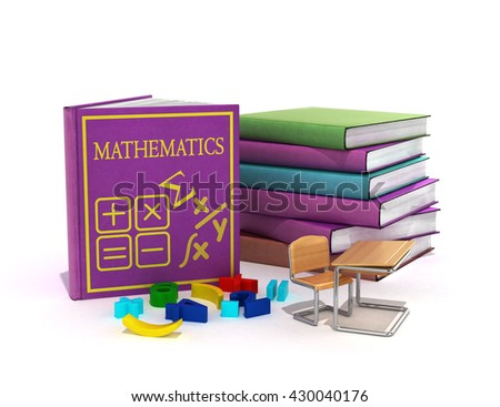 school books on mathematics 3d render on white - stock photo