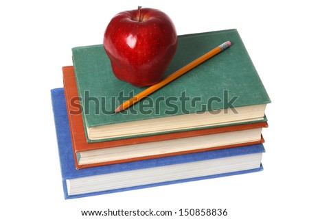 School books with apple and pencil on white background - stock photo