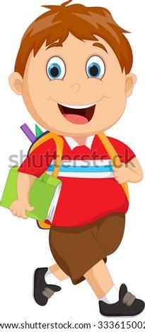School boy cartoon walking - stock photo