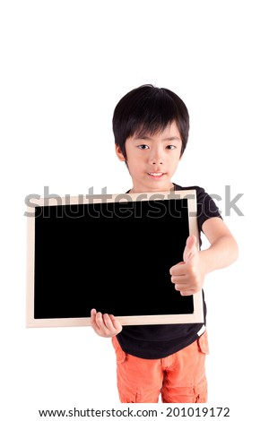 school boy holding a blank black board, isolated on white background - stock photo