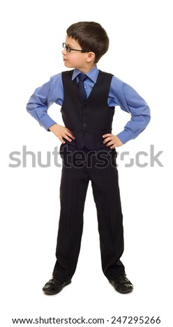 school boy in suit look towards - stock photo
