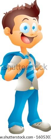 School boy isolated - stock photo