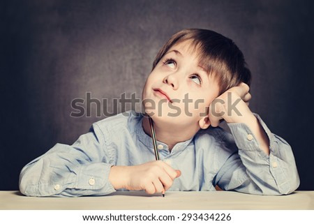 School Boy Pupil Looking Up - stock photo