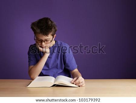 School Boy Reading - stock photo
