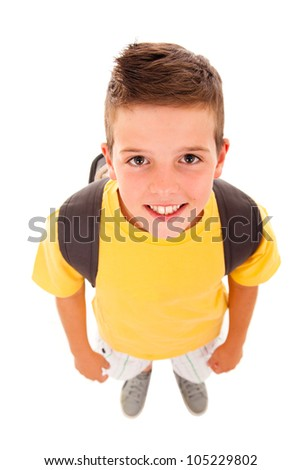 School boy with backpack, isolated on white - stock photo