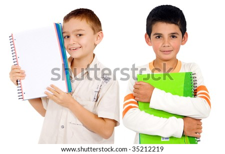 school boys with notebooks isolated over white - stock photo