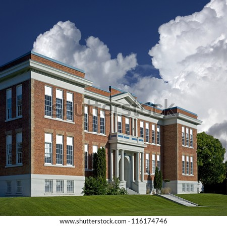 School building - brick school in North America - stock photo