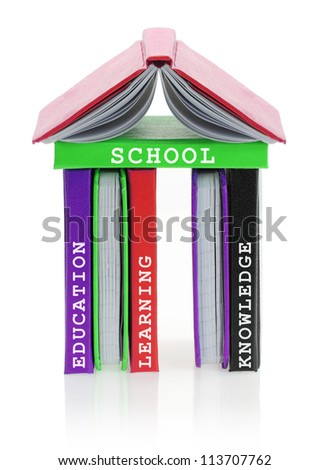 School building made of books - stock photo