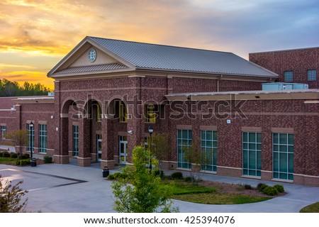 School building - North America historic brick school architecture - stock photo