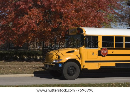 School Bus and fall colors of Chicago - stock photo