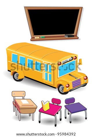 School Bus and Items - stock photo