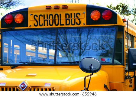 School Bus, back to school, Bus Stop, Education, Close-up of a school-bus - stock photo