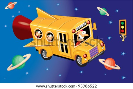 School Bus in Space - stock photo