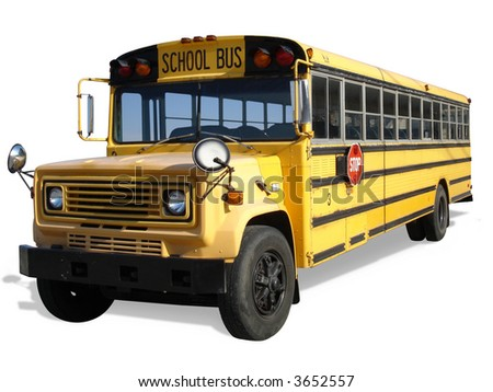 School Bus Isolated - stock photo