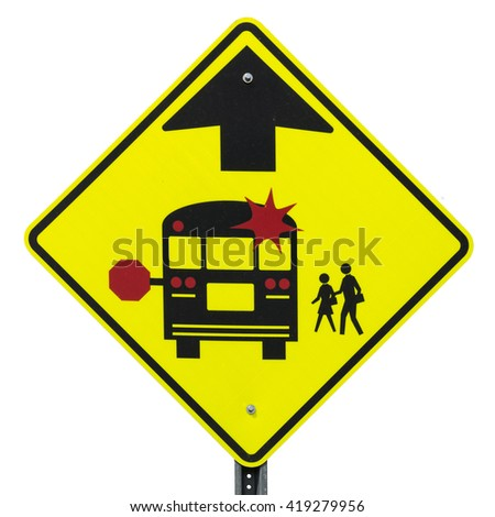 School Bus Stop Ahead isolated road sign - stock photo
