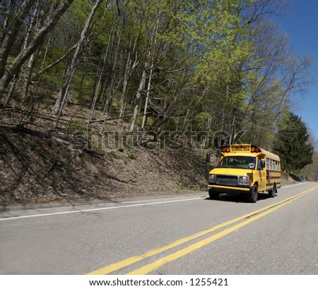 School Bus Wide Angle with Copy space - stock photo
