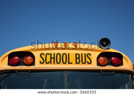 School bus with copy space - stock photo