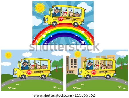 School Bus With Happy Children .Raster Collection - stock photo