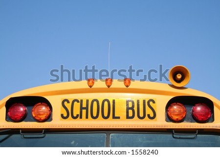 school bus with space for writing-front - stock photo