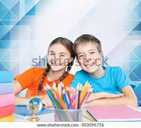 School children, kid, student. - stock photo