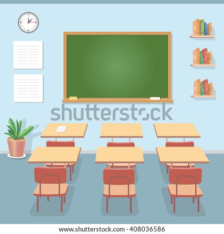 School classroom with chalkboard and desks. Class for education, courses or training - stock photo