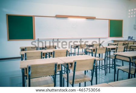 School classroom with desks wood, chalkboard, whiteboard in high school thailand