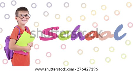 School concept. Schoolboy on bright background - stock photo