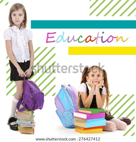 School concept. Schoolchildren on bright background