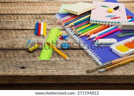 School, crayons, white. - stock photo