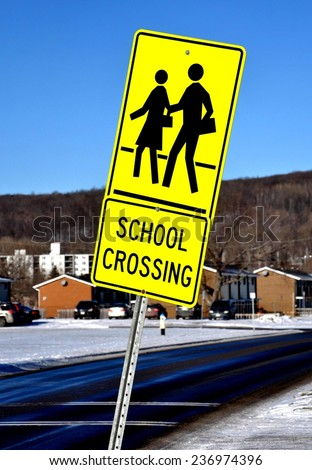 School crossing sign - stock photo