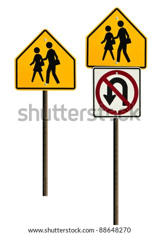School crossing sign and a no U-turn sign together. Isolated on a white background with a clipping path - stock photo