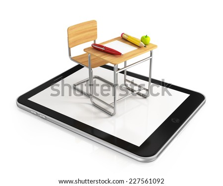 school desk and chair on tablet pc - stock photo