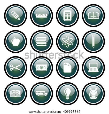 School & Education Icon Set with Green Glass Buttons.  Raster Version