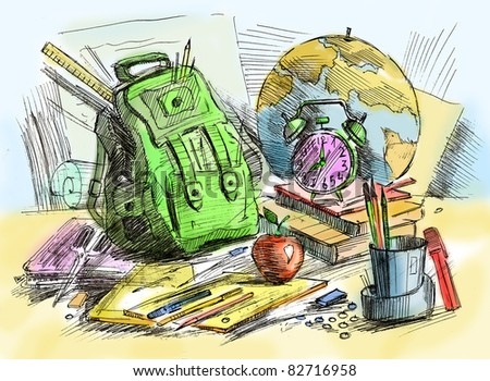 school equipment - stock photo