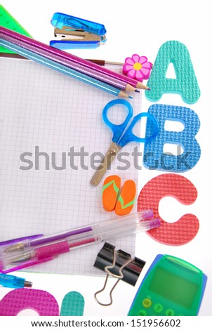 school equipment with a,b,c letters,notebook and accessories isolated on white - stock photo
