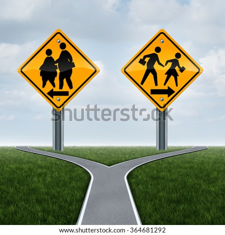 School fitness symbol and physical education concept as overweight obese students on a sign and another with healthy active fit children running as a lifestyle crossroad choice metaphor for kids. - stock photo