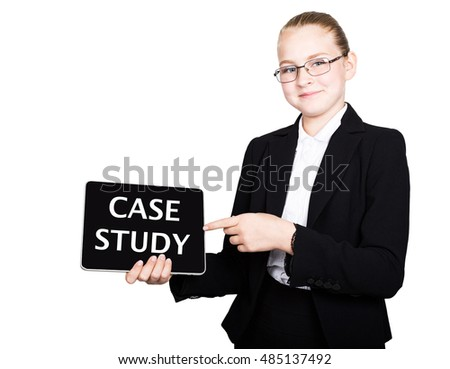 school girl in a business suit holds a pc tablet in his hands and looking into the camera, on a pc tablet inscription case study